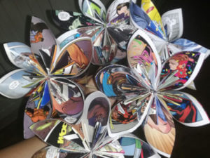 flowers made out of comic books